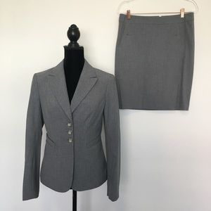 The Limited Gray Skirt Suit with Pink Pinstripes